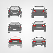 Beautiful vector illustration of car images useful for icon and logotype design on a light background. Back view silhouettes. Transportation automotive concept. Digital pictogram collection