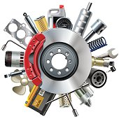 Vector Car Spares Concept with Disk Brake isolated on white background