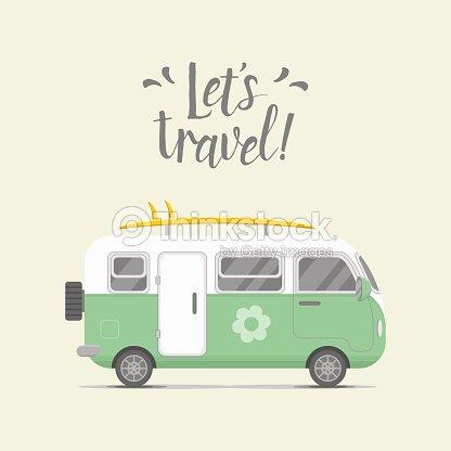 Vector Caravan Trailer Home Illustration Art