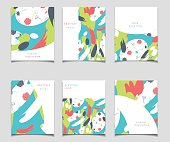 Vector card collection with abstract design. Red, white, blue and green color patterns for posters, greeting cards, flyers, web designs. Anniversary, holiday, wedding, business, birthday, party invita