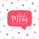 Mother's day card. Best Mom, happy Mother's day. Romantic vector illustration. Vector hand drawn with red speech bubble and red little hearts.Vector card, badge for Mother's day. Love Mom