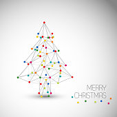 Vector card with abstract christmas tree made from lines and colorful dots (low poly art)