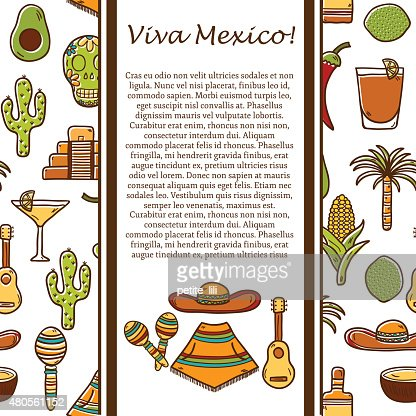 Vector card with cute hand drawn objects on Mexico theme : Vector Art