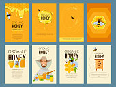 Vector cards with illustrations of apiary. Pictures of honey, beehive and waxing. Beekeeping and sweet golden honey