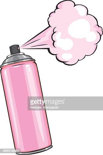 vector cartoon aerosol sprays with pink paint vector art