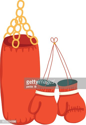vector boxing gloves and punching bag vector thinkstock