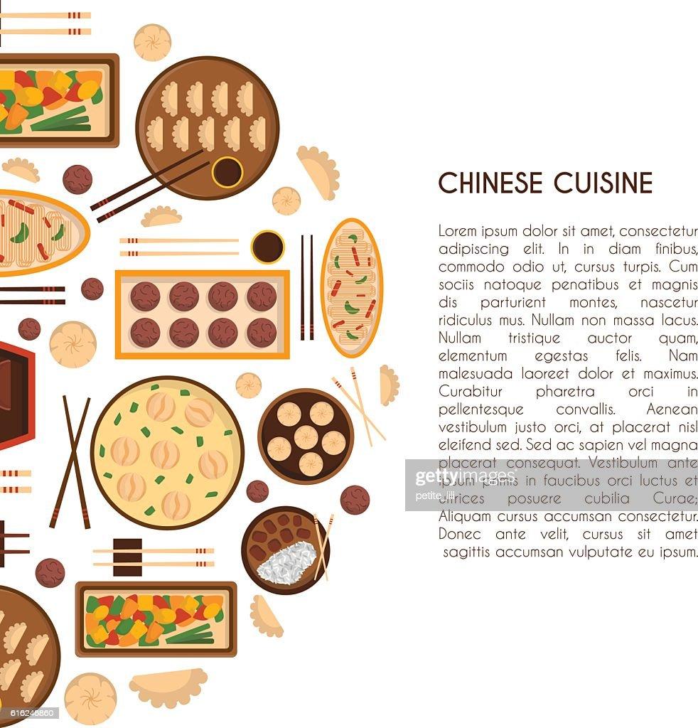 Vector cartoon chinese cuisine food : Vector Art