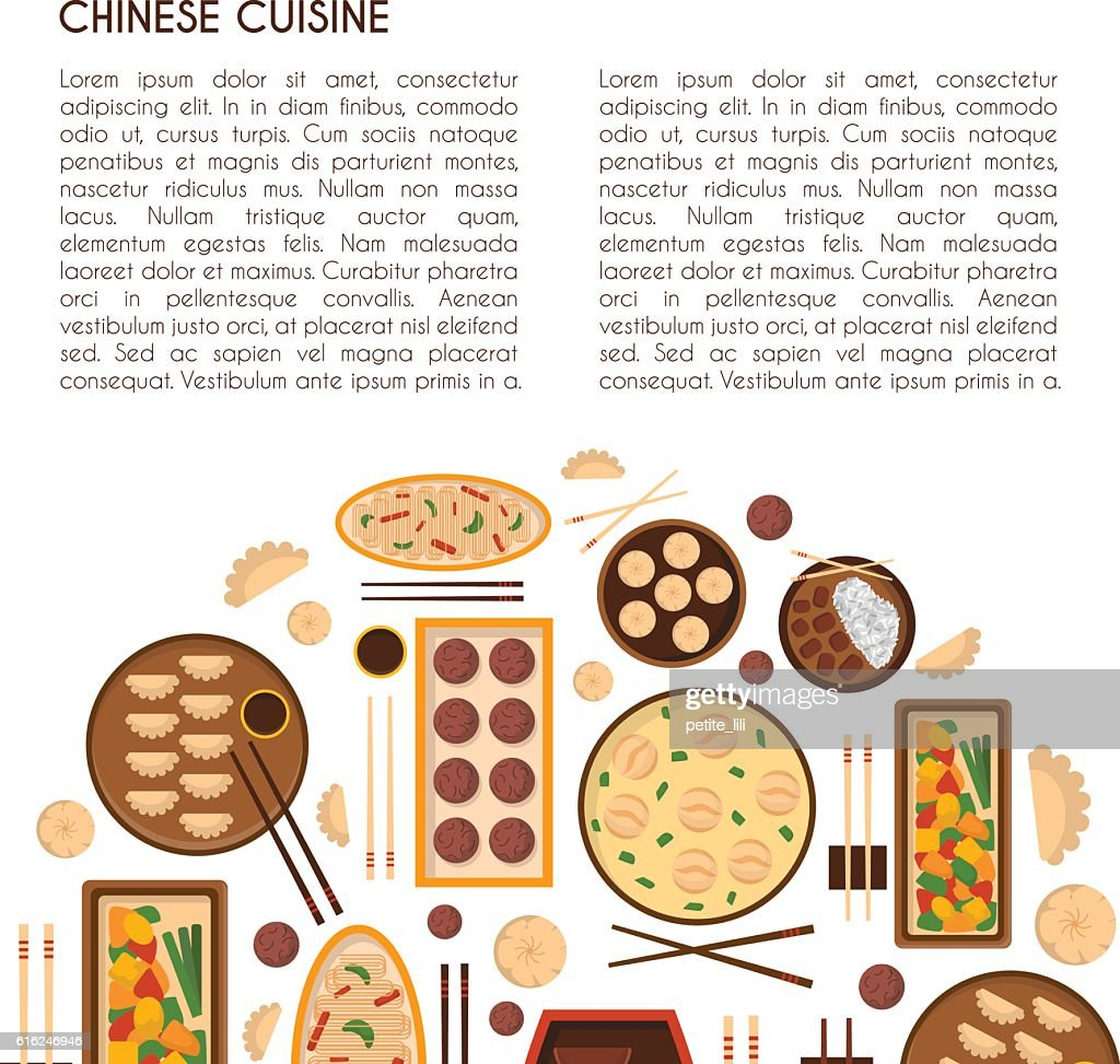 Vector cartoon chinese cuisine food : Vector Art