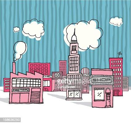 Vector cartoon city / Neighborhood : Vector Art