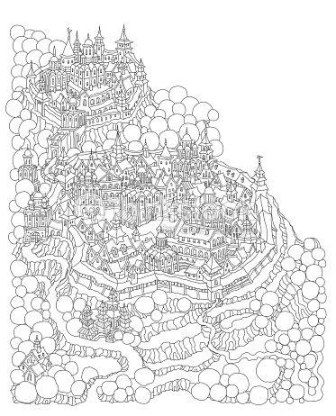 Vector Cartoon Fairy Tale Island Landscape With Castle And Houses