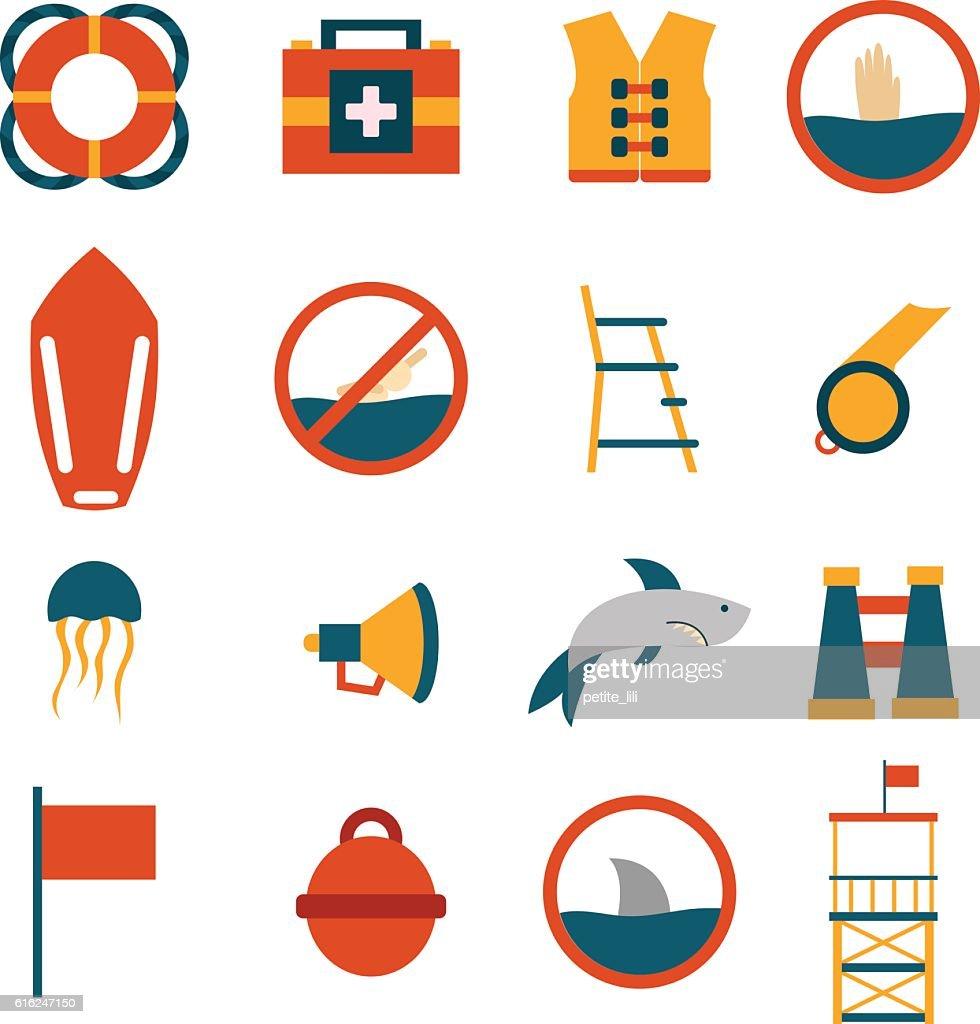 Vector de dibujos animados de salvavidas iconos plana : Arte vectorial