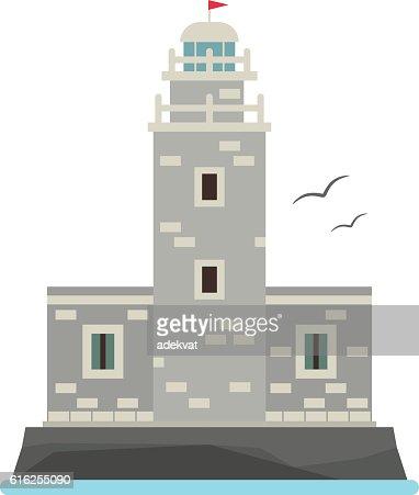 Vector cartoon flat lighthouses. : Vector Art