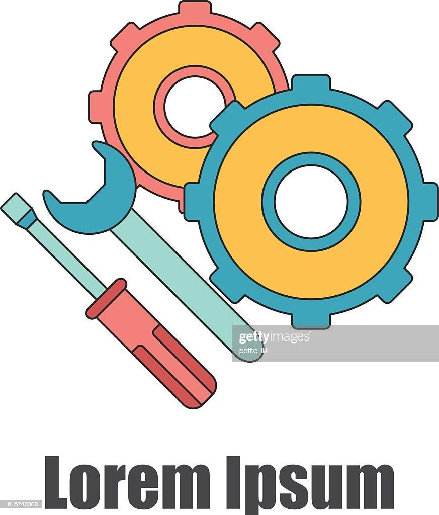 Vector cartoon flat screwdriver, wrench, cogwheel illustration : Vector Art