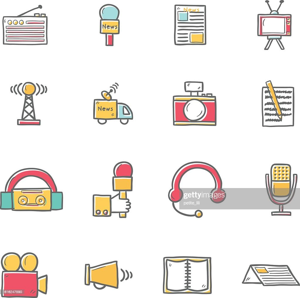 Vector cartoon hand drawn journalism icons illustration : Arte vectorial