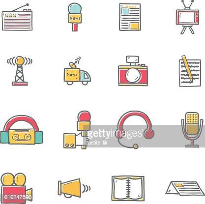 Vector cartoon hand drawn journalism icons illustration : Arte vectorial
