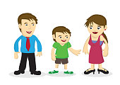 Vector cartoon illustration of a happy family. Concept of bonding between family members.