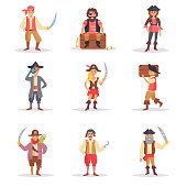 Set with the pirates. Vector. Cartoon. Isolated art on white background. Flat