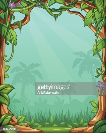 Vector Cartoon Jungle Background With Vines And Palm Trees ...