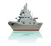 Vector cartoon modern military frigate. Available EPS-10 separated by groups and layers