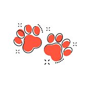 Vector cartoon paw print icon in comic style. Dog or cat pawprint sign illustration pictogram. Animal business splash effect concept.