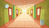 Vector cartoon school hallway with window and many doors. College corridor with rubbish bin and no people. Interior of university, education concept.