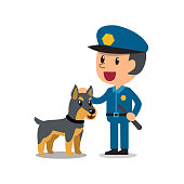 Vector cartoon security guard policeman with police guard dog for design.