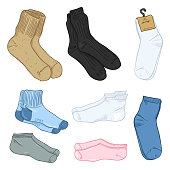 Vector Cartoon Set of Color Different Style Socks.