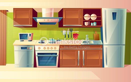 Dibujos Animados De Vector Conjunto De Mostrador De La Cocina Con ...