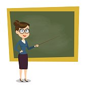 Vector cartoon smiling female teacher with pointer on lesson at blackboard in classroom, showing on board. Design template, EPS10 illustration.