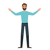 Cartoon Successful arab man in casual clothes stands with open arms. vector cartoon smiling boy dressed in with arms outstretched in a welcome gesture