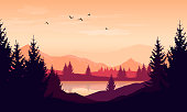Vector cartoon sunset landscape with orange sky, silhouettes of mountains, hills and trees and lake.