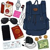Vector Cartoon Color Travel Set. Personal Belongings for Journey