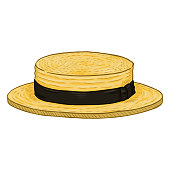 Vector Cartoon Yellow Kanotie Straw Hat with Balck Ribbon