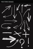 Vector Chalk Arrows. Hand drawn illustration.