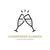 Vector champagne glasses icon. Celebration, holidays, toast concepts. Two champagne flutes. Premium quality graphic design. Outline symbol, sign, simple linear stroke thin line icon for websites, web