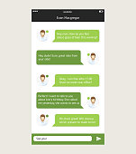 Vector chat frames message boxes for your text in white ang green color