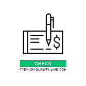 Vector check icon. Cheque and pen. Draw a check concept. Premium quality graphic design element. Modern stroke sign, linear pictogram, outline symbol, simple thin line icon