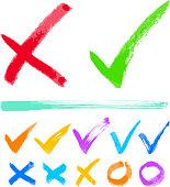 Hand-drawn check marks.