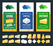 Vector cheese labels and packaging design templates. Different types of cheese detailed icons. Dairy products illustration for dairies, farms and groceries branding. Cow, sheep and goat icons.