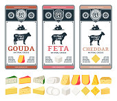 Vector cheese labels and packaging design templates. Different types of cheese detailed icons. Dairy products illustration for dairies, farms and groceries branding. Cow, sheep and goat silhouettes.