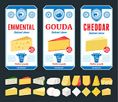 Vector blue, white and red cheese labels and packaging design templates. Different types of cheese detailed icons. Dairy products illustration for dairies, farms and groceries branding.