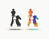 chess icon. Vector watercolor splash paint icon