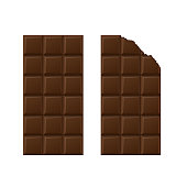 Chocolate bars over white background. Vector illustration