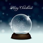 Vector christmas greeting card with snow globe on snow and night sky background.