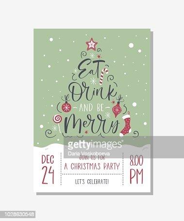 Vector christmas party invitation with handwritten modern brush lettering. : Arte vetorial