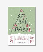 Vector christmas party invitation with handwritten modern brush lettering. Santa Stuck.