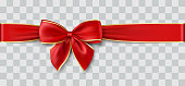 red ribbon and bow with gold, vector illustration