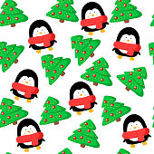 vector christmas seamless pattern with xmas tree and penguin. Suitable for fabric, paper, packaging, decor and design