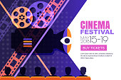 Vector cinema festival poster, banner background. People audience sitting in the cinema hall and watching film on screen. Sale cinema theatre tickets, movie time and entertainment concept.