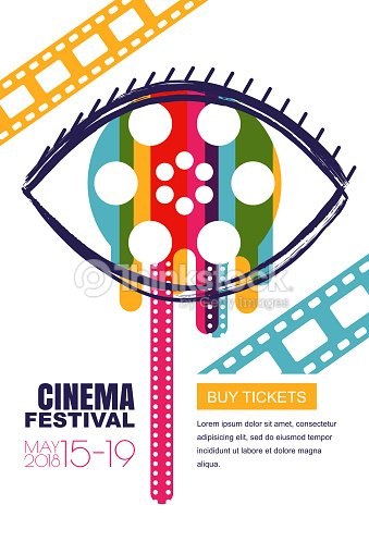 Vector Cinema Festival Poster Banner Human Eye With Film Reel In Pupil Sale